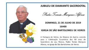 Celebração de ação de graças dos 60 anos de sacerdócio do Pe. Tomás @ Igreja de S. Bartolomeu de Veiros